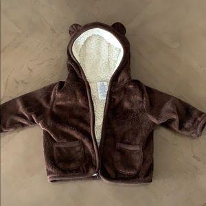 Brown infant boys zip up jacket